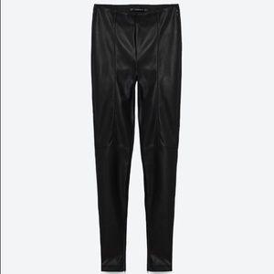 Zara faux leather black leggings with ankle zipper